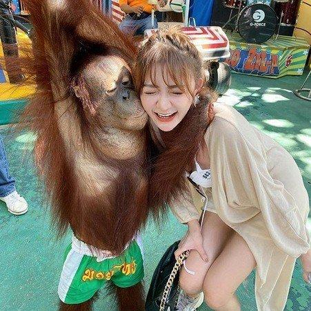 2猩猩强吻狂揉巨胸,豪乳妹左半球差点掉出