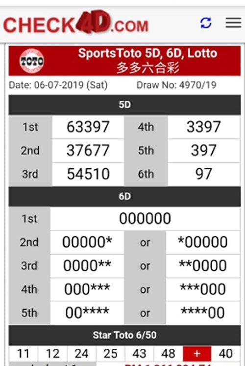 Toto6D大派财,000000开出首奖